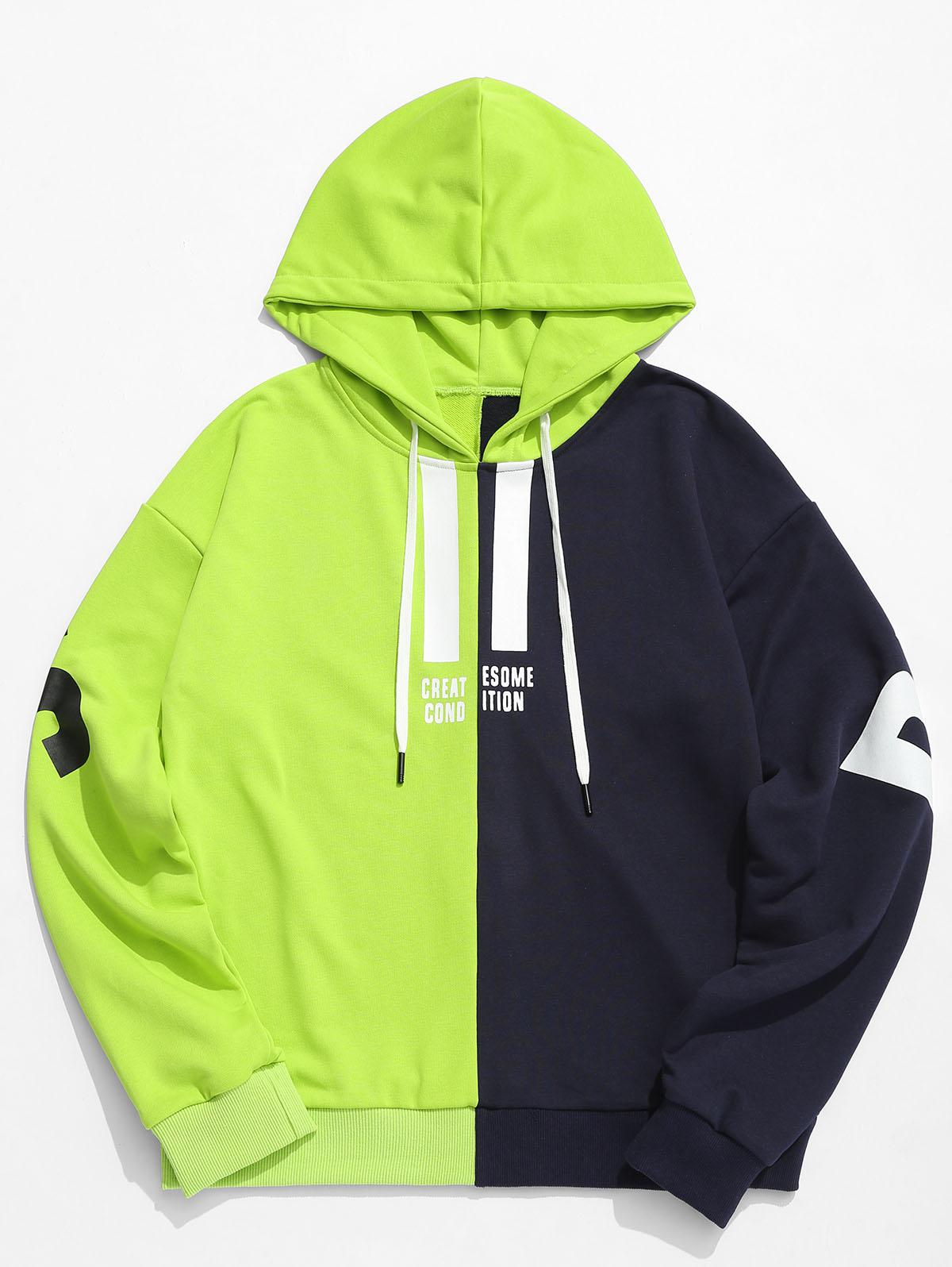 Contrast Color Letter Pullover Hoodie, Green yellow