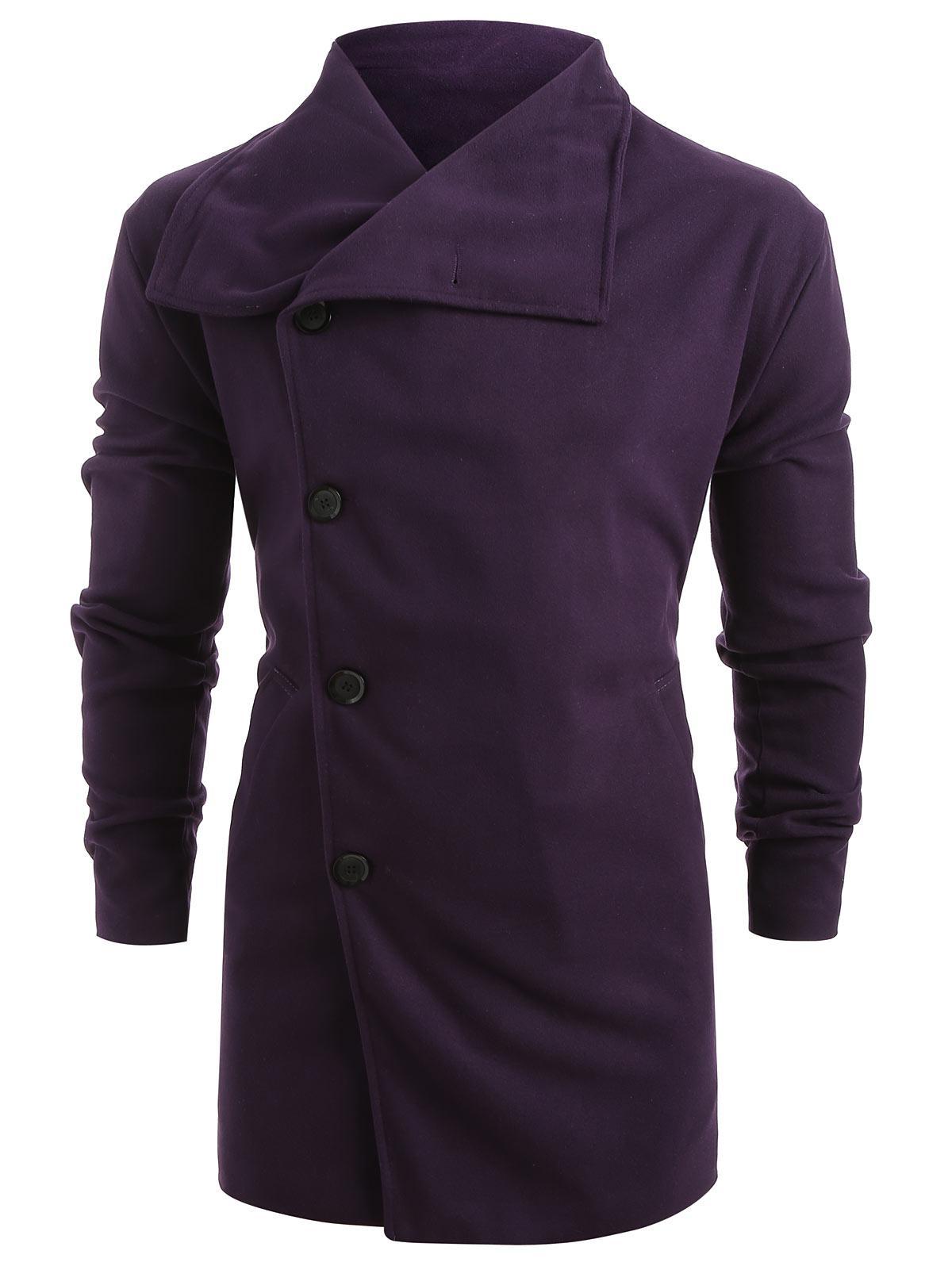Side Single Breasted Woolen Trench Coat, Purple