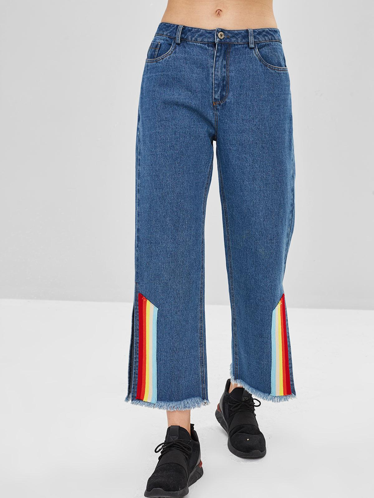 ZAFUL Rainbow Striped Slit Wide Leg Jeans