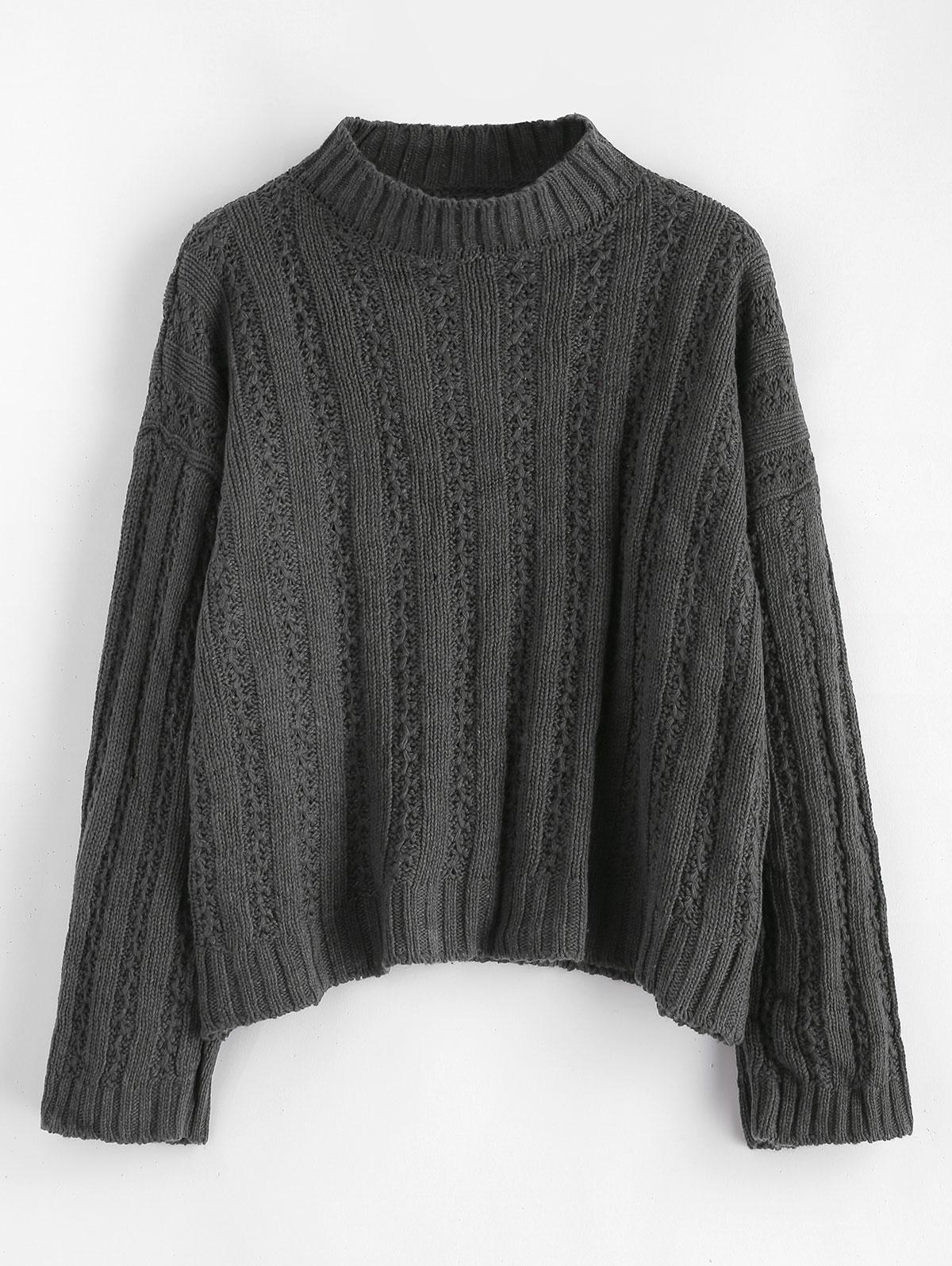 Drop Shoulder Wide Ribbed Boxy Sweater
