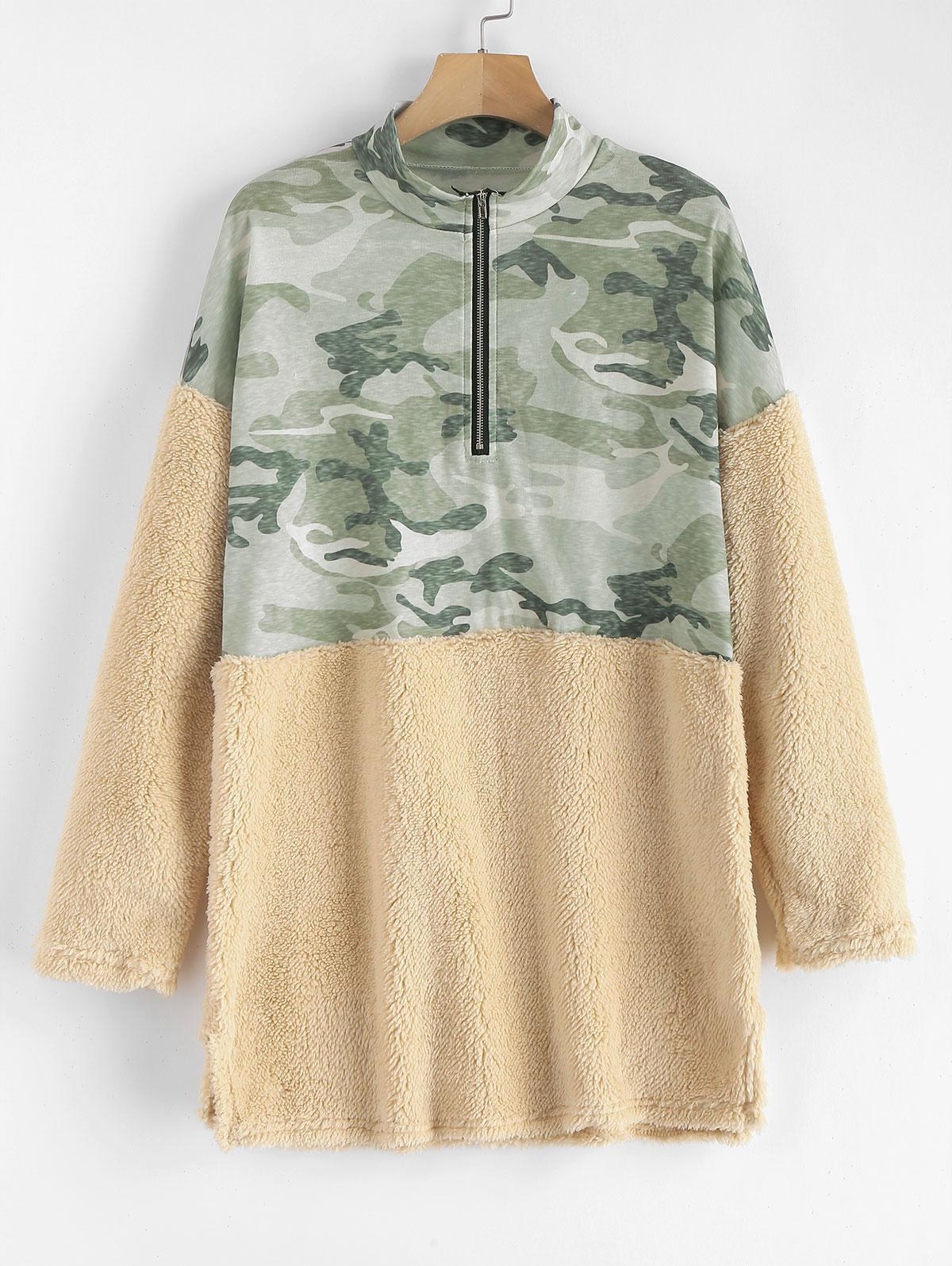 Half Zip Camouflage Faux Fur Panel Sweatshirt