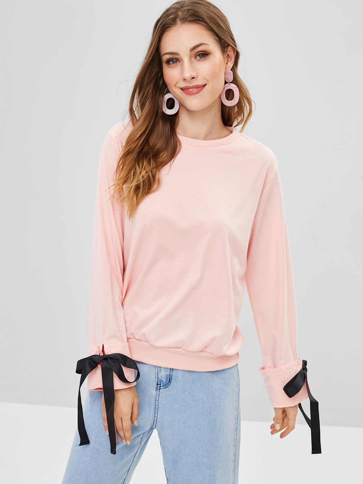 Knotted Cuffed Sleeves Sweatshirt