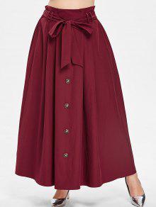 ZAFUL لونغ زائد حجم التنورة مع حزام - نبيذ احمر 4x