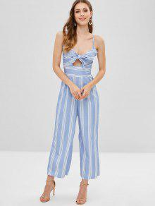 ffb276ef3c3 Knot Cutout Shirred Striped Jumpsuit  Knot Cutout Shirred Striped Jumpsuit  ...