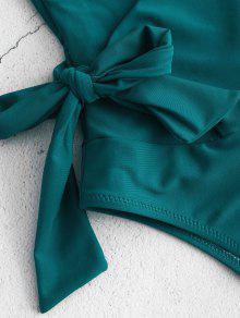 d914b60dfdf23 22% OFF] 2019 ZAFUL Side Tie Wrap One-piece Swimsuit In GREENISH ...