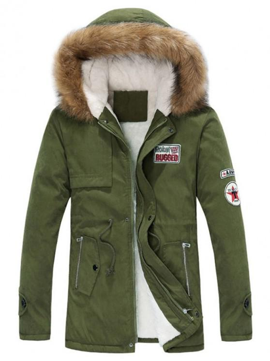 buy Faux Fur Hood Fluffy Lined Jacket - ARMY GREEN S