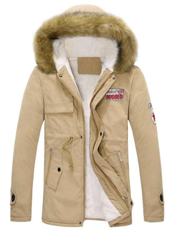 unique Faux Fur Hood Fluffy Lined Jacket - KHAKI XS