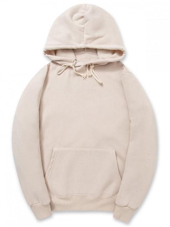 fancy Solid Color Kangaroo Pocket Fleece Pullover Hoodie - APRICOT XS