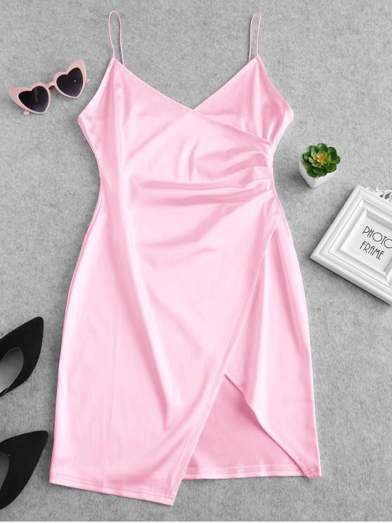unique Cami Draped Crossover Slip Party Dress - PINK M