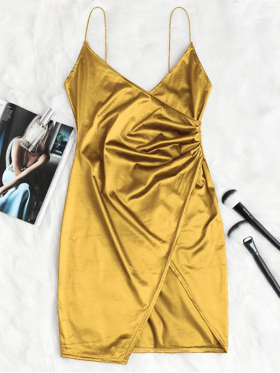 online Cami Draped Crossover Slip Party Dress - GOLD XL
