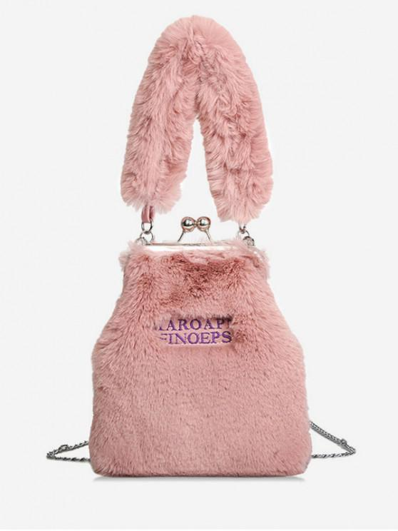 f7618a301a5 2019 Letter Design Handbag With Plush Leather In LIGHT PINK   ZAFUL
