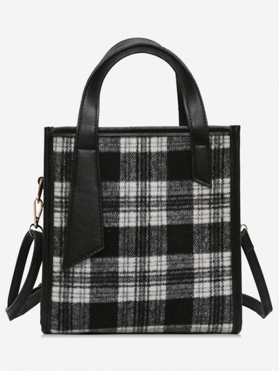 fashion Fluffy Plaid Design Zipper Handbag - BLACK