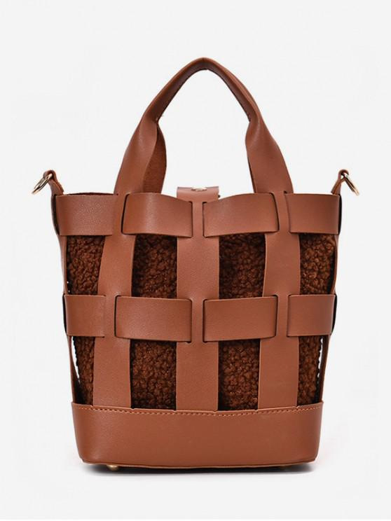 hot 2Pcs Hollow Design Bucket Handbag - BROWN