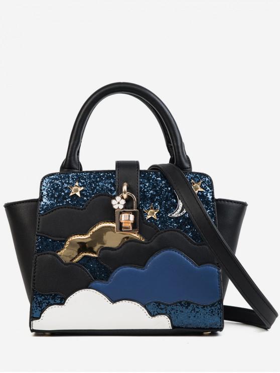 lady Color Block Design Paillette Handbag - BLACK