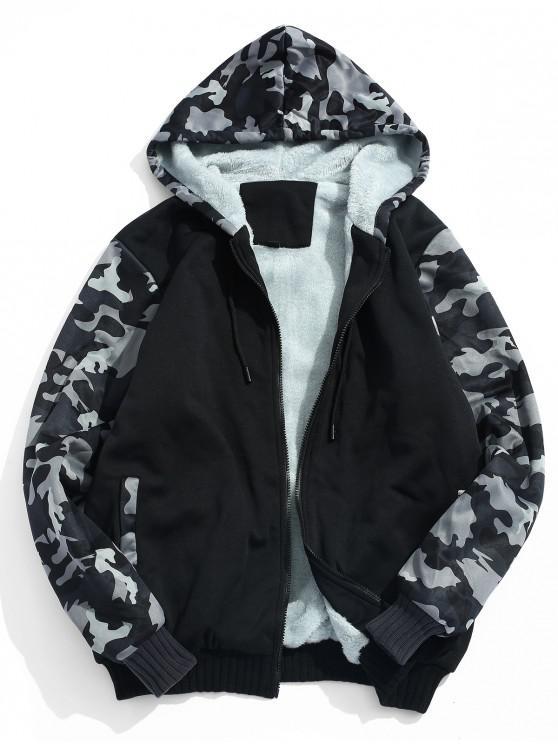 trendy Fluffy Inside Camo Patchwork Jacket - SMOKEY GRAY S
