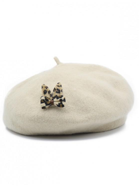 shops Leopard Bowknot Embellished Painter Hat - BEIGE