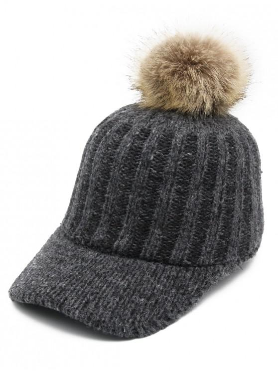 2019 Winter Fuzzy Ball Knitting Baseball Cap In GRAY  66f4b1ee757