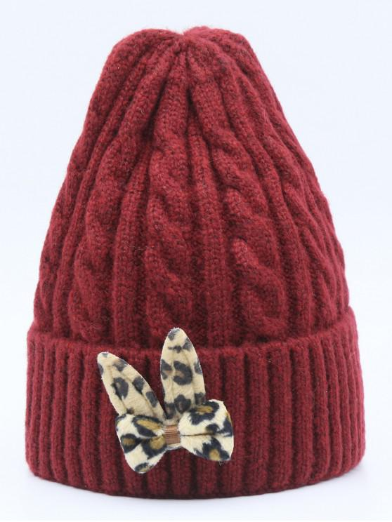 buy Leopard Bowknot Flanging Beanie - RED WINE