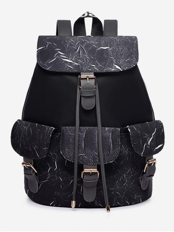 online Letter Pattern Wideband School Backpack - BLACK