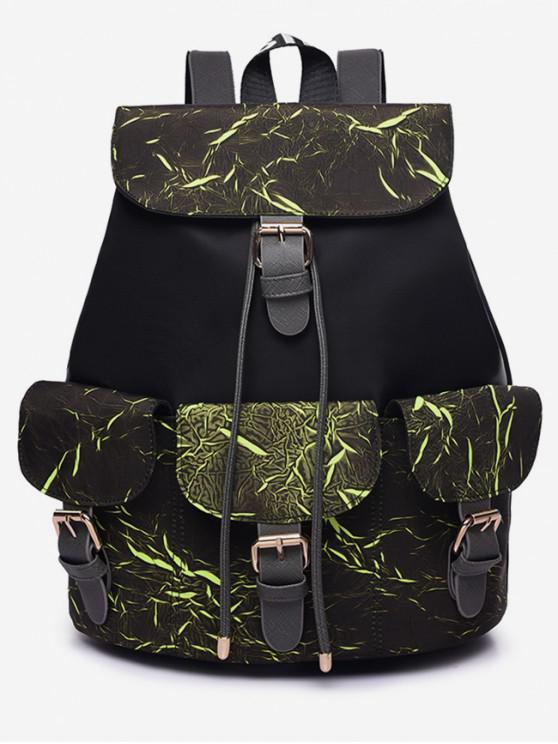 hot Letter Pattern Wideband School Backpack - MEDIUM SPRING GREEN