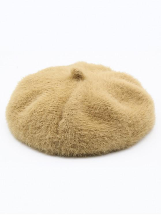 womens Winter Thick Polyester Painter Beret - CAMEL BROWN