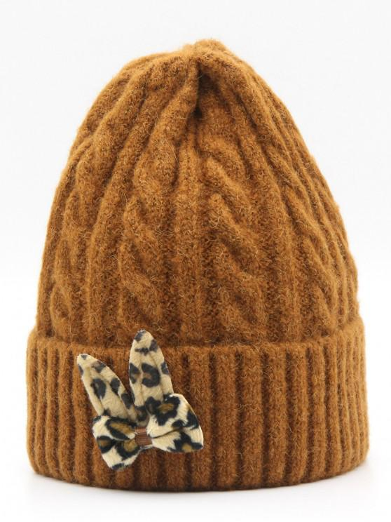 women's Leopard Bowknot Flanging Beanie - BROWN