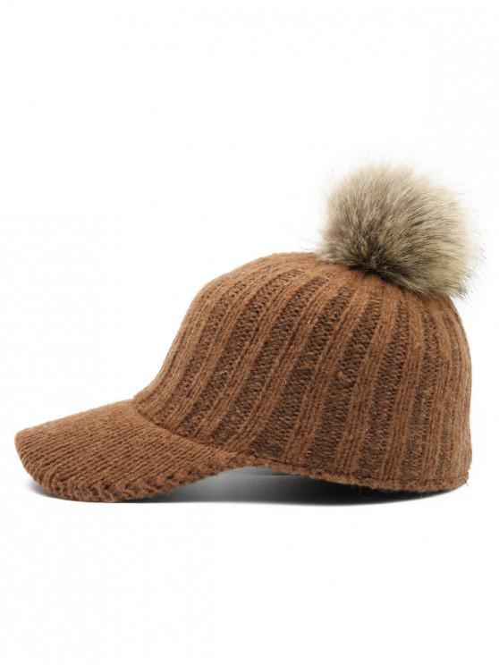 outfits Winter Fuzzy Ball Knitting Baseball Cap - BROWN c20f836fe0b