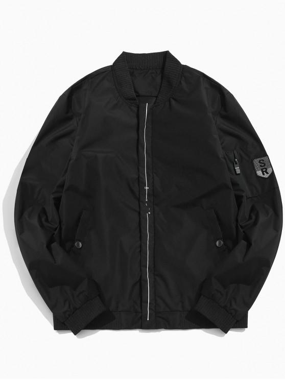 fashion Line Print Lightweight Bomber Jacket - BLACK S