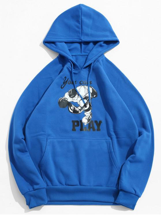 هوكي الجليد لاعب طباعة الصوف هوديي - محيط أزرق M