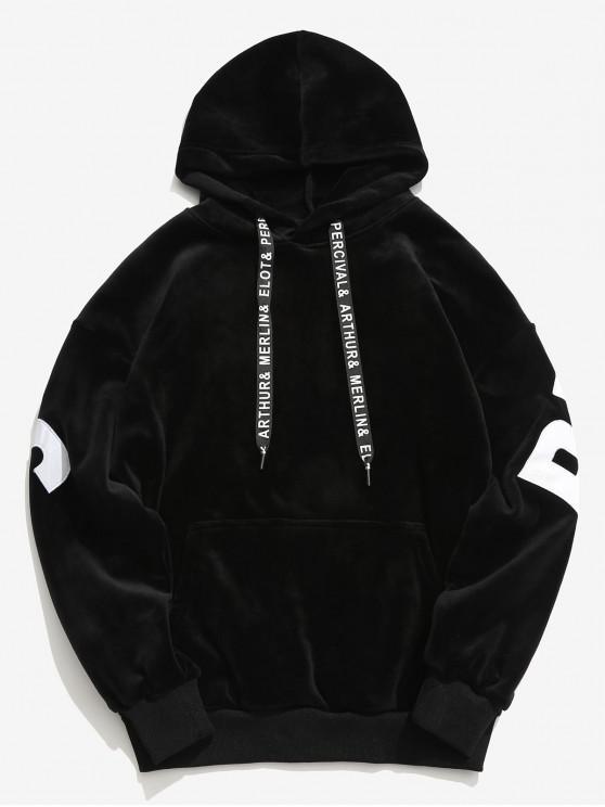 fancy Sleeve Letter Pocket Velvet Hoodie - BLACK M