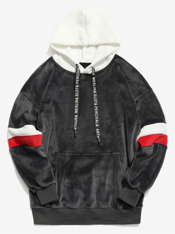 women Contrast Stripe Pullover Velvet Hoodie - CARBON GRAY L