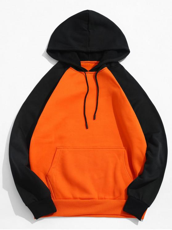Sweat Shirt à Capuche en Molleton Motif Blocs de Couleurs avec Poche CARBON GRAY LIGHT GRAY BLACK DARK ORANGE