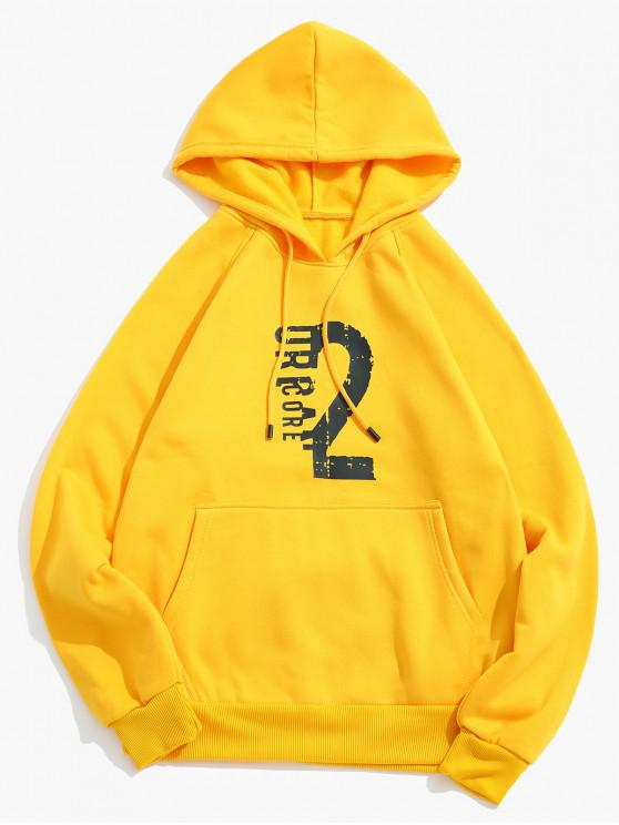 shop Number Letter Print Fleece Hoodie - BRIGHT YELLOW L