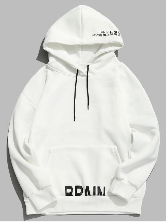 fashion Letter Printed Pullover Drawstring Fleece Hoodie - WHITE L