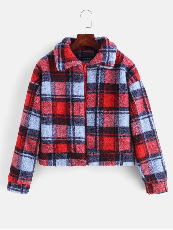 women Fluffy Faux Fur Short Plaid Coat - RED M