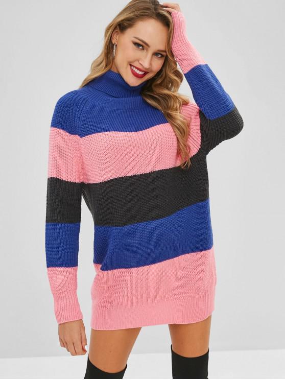 Vestito In Maglia A Blocchi Di Colore Con Collo Alto - Multi Colori-A Taglia unica