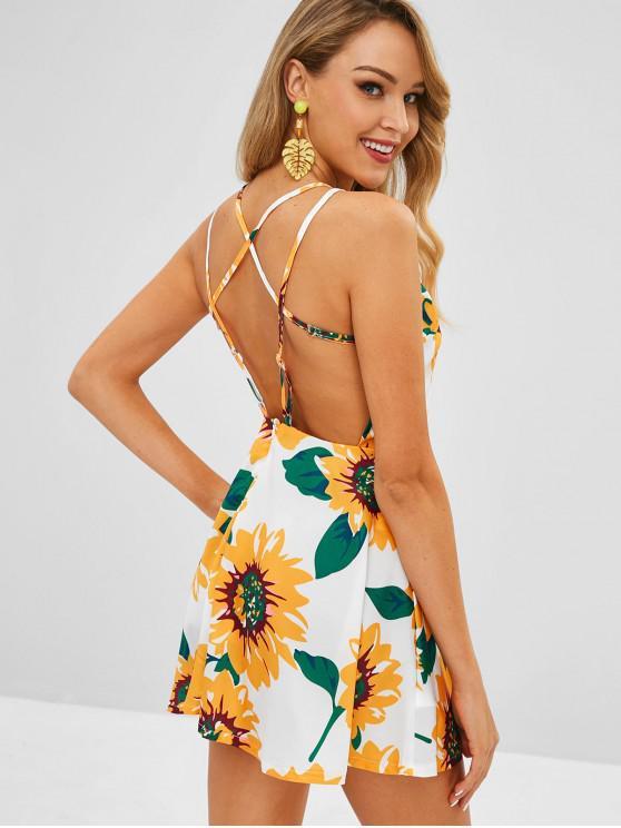 fashion Sunflower Print Strappy Skater Mini Dress - MULTI S