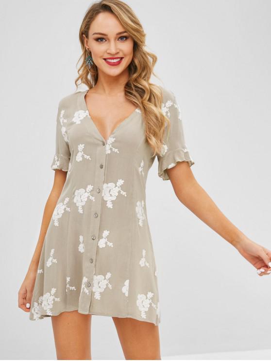 Vestido con botones floral - Ganso Gris L