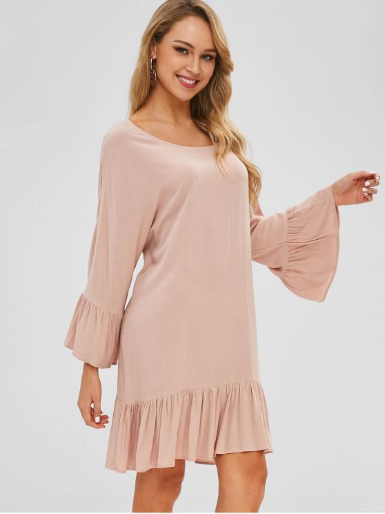 Vestido de túnica con volantes - Rosado L