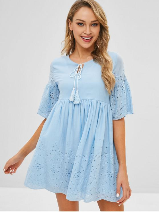 fashion Broderie Anglaise Smock Dress - BLUE L