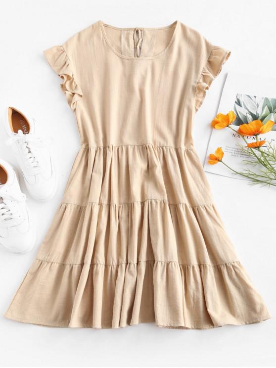fashion Ruffles Smock Dress - APRICOT L