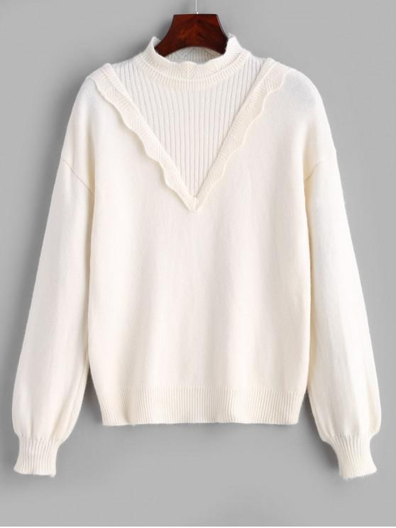 chic Ribbed Bib Scalloped Sweater - WARM WHITE ONE SIZE