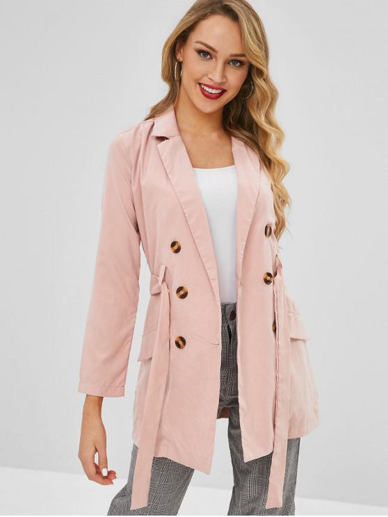 fashion Lapel Trench Coat - PINK S