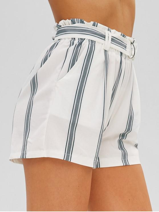 women's Striped Belted High Waist Shorts - WHITE L