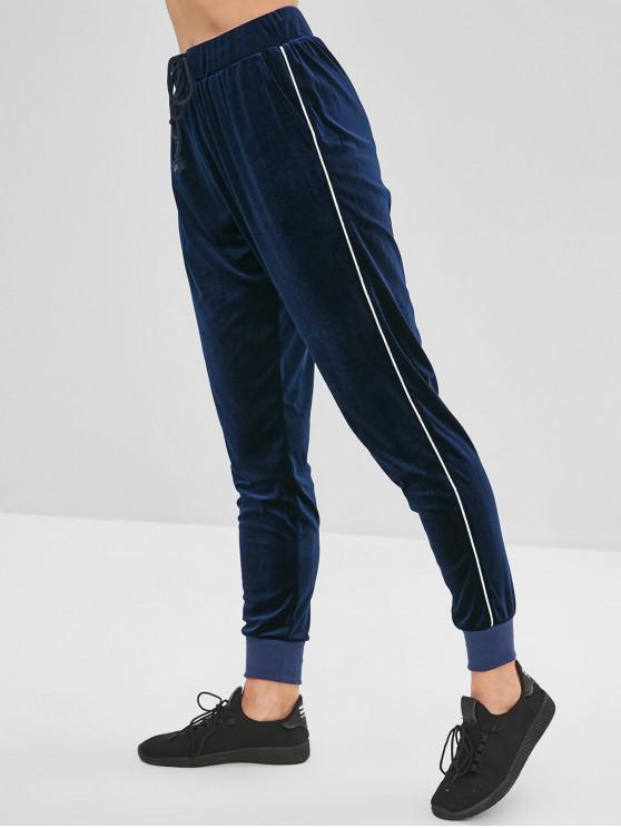 latest ZAFUL Velvet Drawstring Jogger Pants - CADETBLUE S