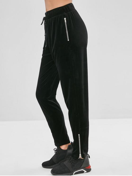 shops ZAFUL Velvet Zipper Drawstring Pants - BLACK M