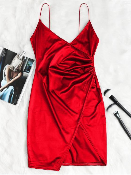 Cami Drapeado Crossover Slip vestido de fiesta - Rojo Lava M