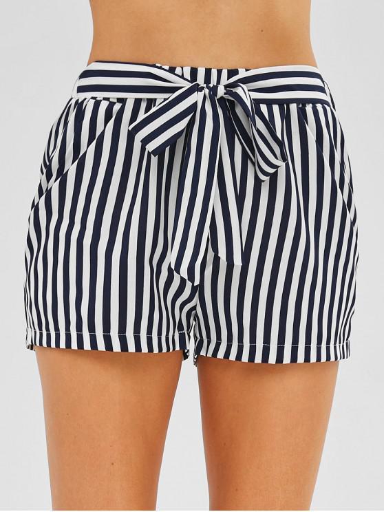 Shorts a rayas con cinturón en los bolsillos laterales - Blanco M