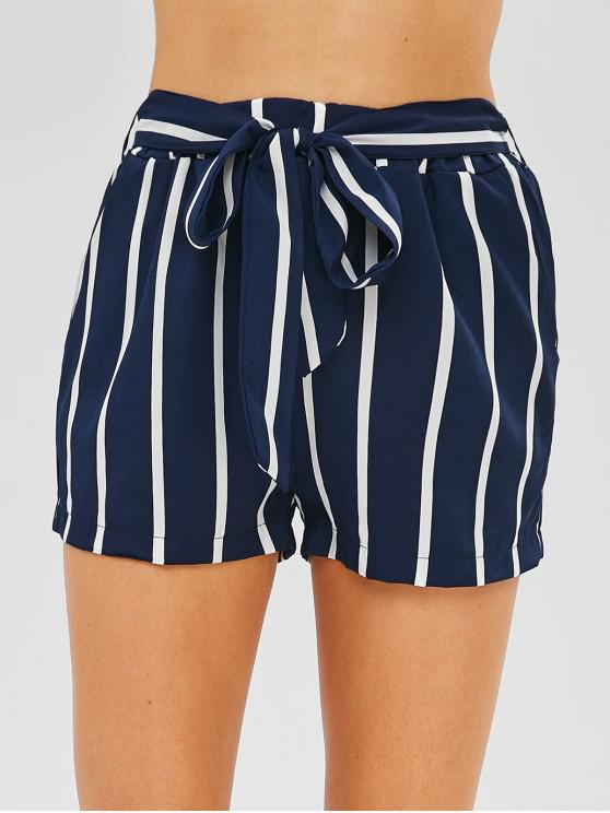 outfits Side Pockets Striped Shorts With Belt - LAPIS BLUE M