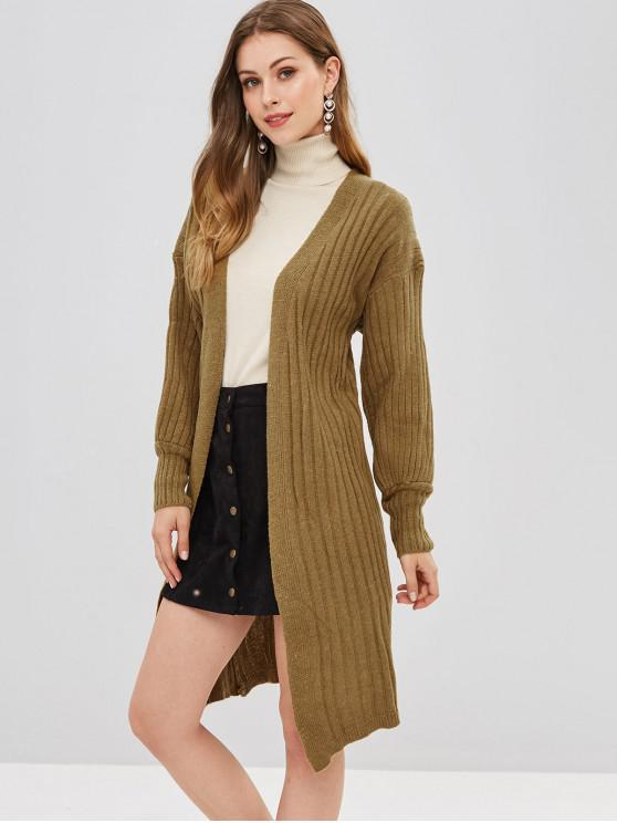 outfit Open Front Blouson Sleeve Ribbed Cardigan - KHAKI ONE SIZE